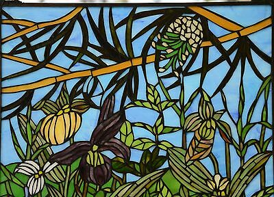 "24"" x 36"" Lily Pond Lotus Tiffany Style stained glass window panel 2"
