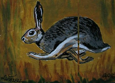 "A869    Original Acrylic Aceo Painting By Ljh    ""Pete Rabbit""  One-Of A-Kind 3"