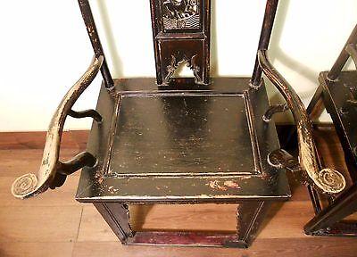 Antique Chinese High Back Arm Chairs (5569) (pair), Circa 1800-1849 3