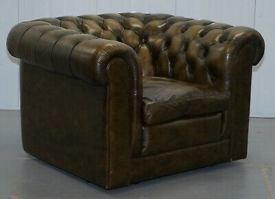 Stunning Pair Of Vintage Chesterfield Leather Club Armchairs Feather Cushions 9