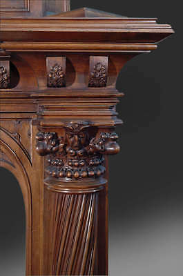 A Monumental Gothic Style Carved Walnut & Polychrome Decorated Fireplace 7