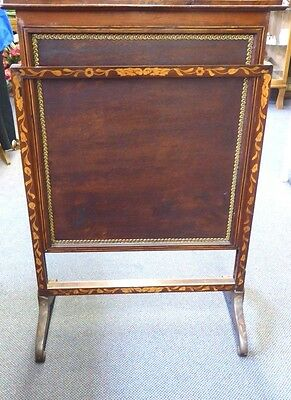 Antique English Inlaid Mahogany Adjustable Firescreen W/French Tapestry.1870 6