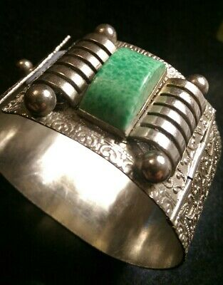 Art Deco Wide Machine Age Peking Glass And Metal Hinged Bracelet....repair 8