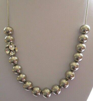 527ce270f7e ... collier moderne bijou couleur argent perles métal et cristaux diamant  3523 5