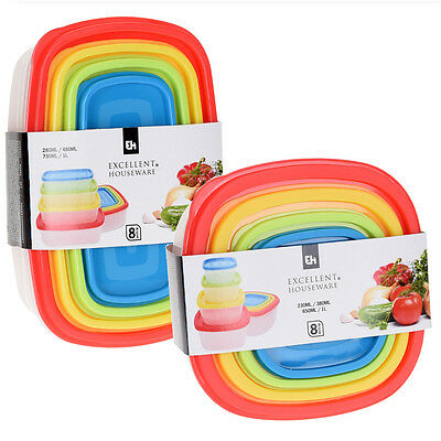 2 of 4 8 Pcs Stackable Nesting Food Storage Containers Coloured Lid Plastic Lunch Boxes  sc 1 st  PicClick UK & 8 PCS STACKABLE Nesting Food Storage Containers Coloured Lid Plastic ...