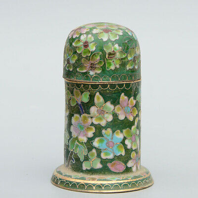 Collectable China Handwork Cloisonne Carve Beautiful Flowers Luck Toothpick Box 2