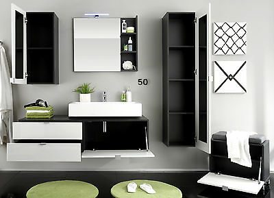 badm bel badezimmer set bad komplett mit waschbecken wei hochglanz grau beach eur 599 00. Black Bedroom Furniture Sets. Home Design Ideas