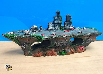 Aquarium Ornament Aircraft Carrier Shipwreck Battle Ship Fish Tank Cave Hide 3