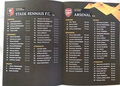 Rennes (Stade Rennais) V Arsenal 7:3/19. Europa League Programme & Sport Journal 3