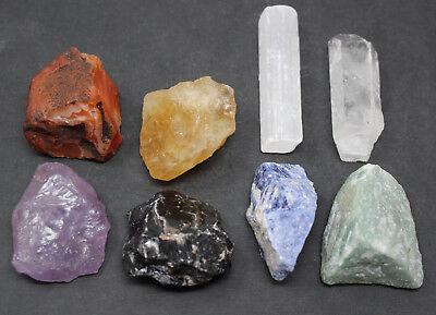 LARGE Chakra Natural Stones Set 7 Rough Crystals Raw Selenite Stick, Directions 5