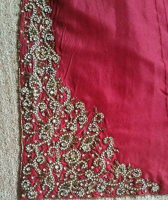 Deep red / Burgundy Silk  Heavy Jewelled Diamante work long kameez/pajama suit 10