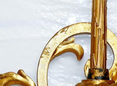 Antique Italian Tole Gold Gild Gilt Fleur de Lis 6 Wall Sconce Candelabra 43x29 8