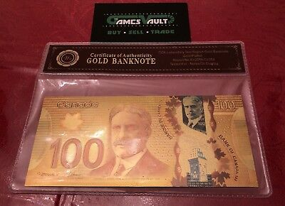 24KT Gold plated $100 Canada bill banknote - FREE SHIPPING&FAST - ON SALE 2