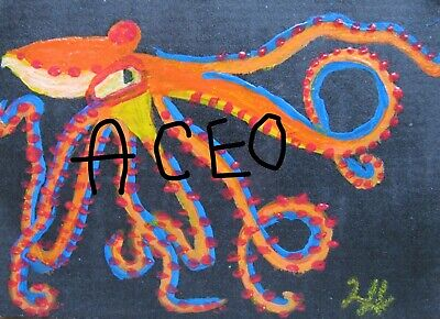 """A871    Original Acrylic Aceo  Painting By Ljh        """"Octopus"""" 5"""