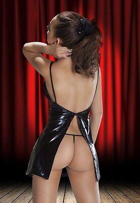 sexy Minikleid Negligee Wetlook Kleid Gogo fetisch Dessous S M L XL 2