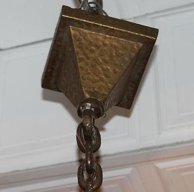 Arts & Crafts mission Hand Hammered hanging slag light glass Chandelier fixture 6