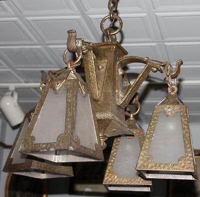 Arts & Crafts mission Hand Hammered hanging slag light glass Chandelier fixture 5 • CAD $5,398.56