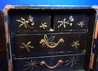 Attic Found Vintage Japanese Wood Shelf Flower Motive Jewel Case #< 5
