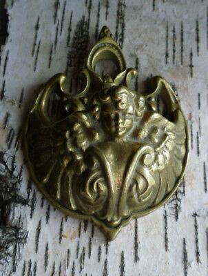 Vintage Art Nouveau Deco Garden Wall Pocket Angel Fleur de Lis Numbered Brass