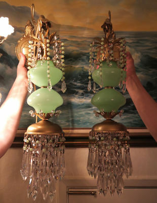 PR Vintage Sconce lamp Murano Jade Opaline Glass Bronze Brass crystal with beads 4