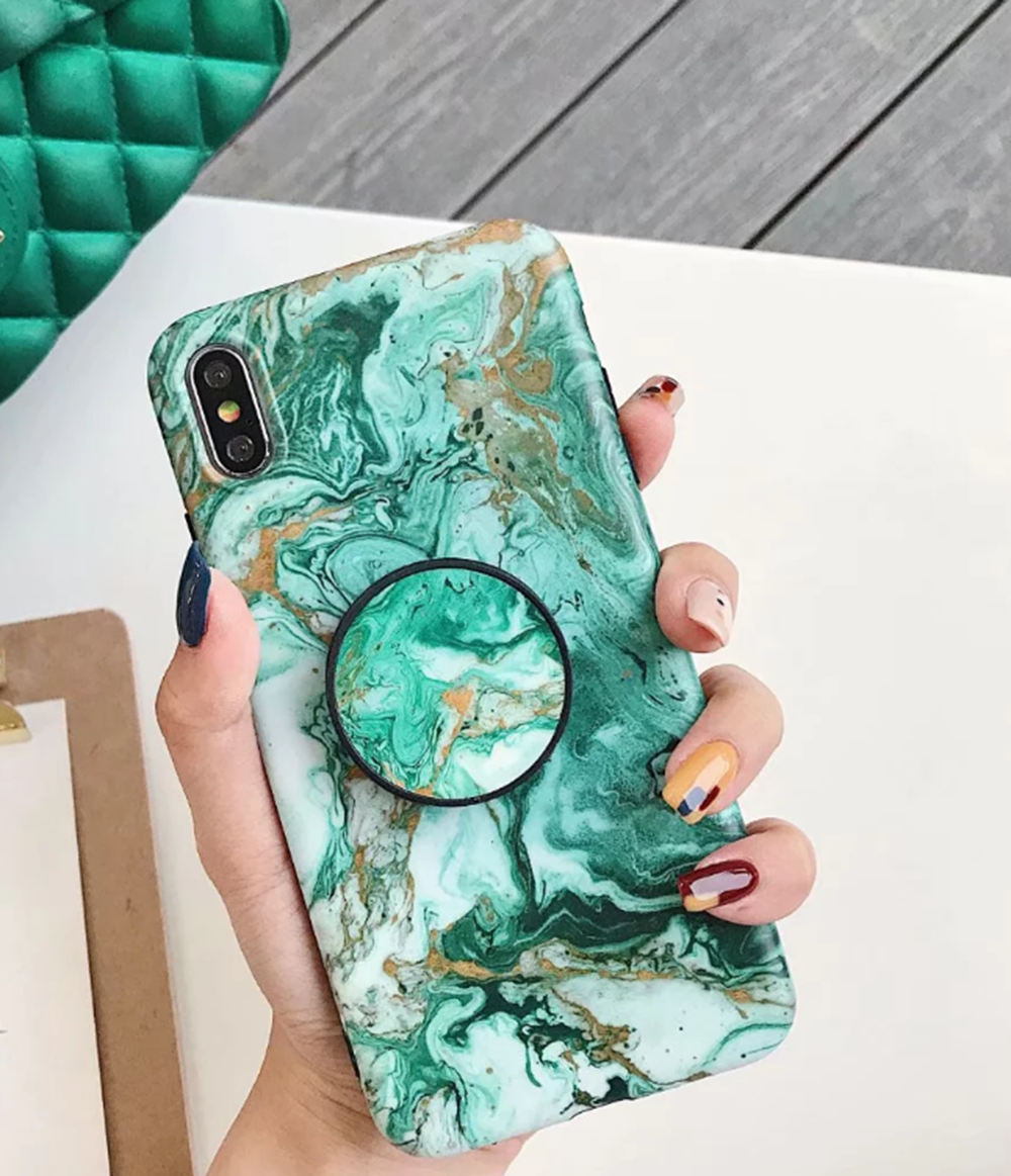 Marble Put Up Holder Shockproof Case Cover F iPhone X XR XS 11 Pro Max 8 7 6s 9