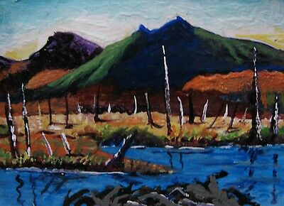 """A444 Original Acrylic Art Aceo Painting By Ljh One-Of-A-Kind """"Ireland Landscape"""" 10"""