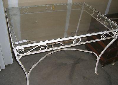 Antique   wrought iron  patio table   garden decor glass top 3