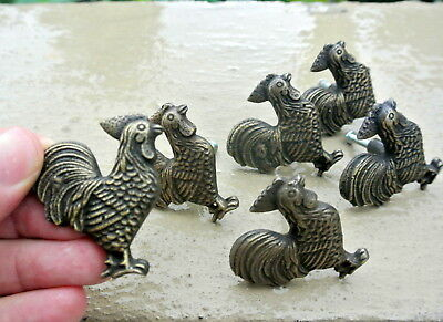6 small CHICKEN knobs aged solid BRASS old vintage style natural 5 cm high B 9