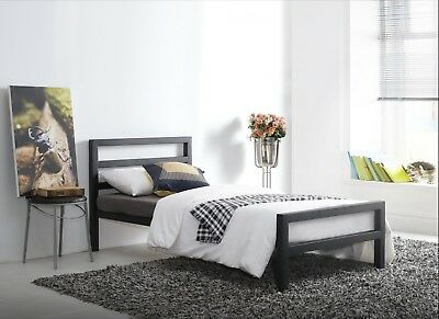 City Block Black Metal Bed Extra Strong Modern Style Single Double King Size 2