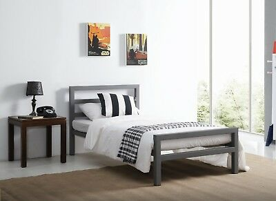 City Block Grey Metal Bed Extra Strong Modern Style Single Double King Size 3