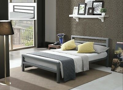City Block Grey Metal Bed Extra Strong Modern Style Single Double King Size 2
