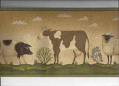 2 Of 4 Primitive Wallpaper Border Sheep Horse Pig Cow Country Folk Art Animal Farm New
