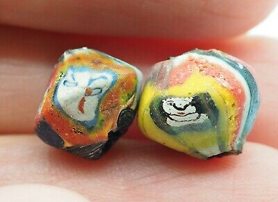 Stunning Phoenician Style Pair Of Antique Blue Yellow Face Islamic Glass beads 7