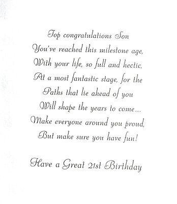 Happy 21st birthday son brilliant 21 greeting card with really 2 of 3 happy 21st birthday son brilliant 21 greeting card with really lovely words m4hsunfo