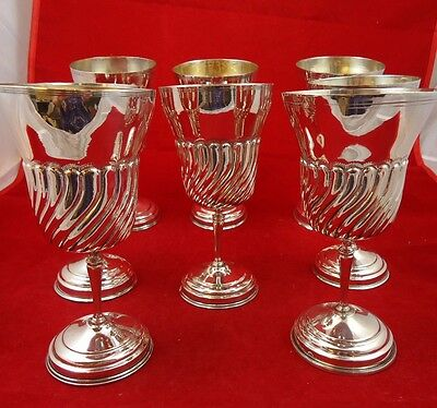 8 Beautiful 800 Silver Matching Goblets with Swirl Design