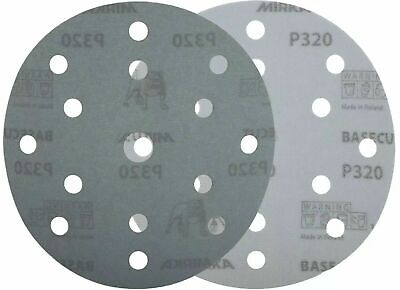 "Mirka Basecut 15 Hole Hook n Loop Sanding Discs H&L 150mm 6"" Sand Paper Disks 9"
