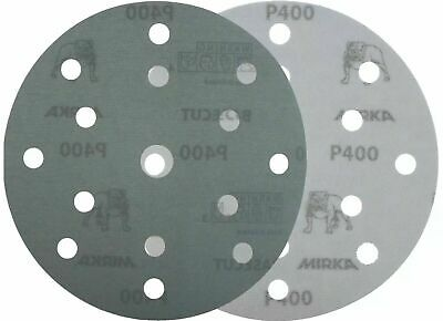 "Mirka Basecut 15 Hole Hook n Loop Sanding Discs H&L 150mm 6"" Sand Paper Disks 10"