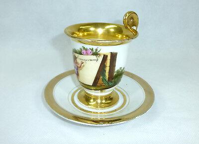 Biedermeier Tasse mit Untertasse um 1850 3