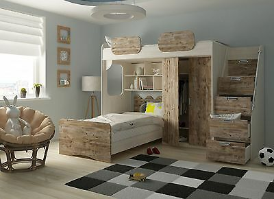 Kinderzimmer Hochbett etagenbett geko rustikal hell multifunktionsbett kinderzimmer