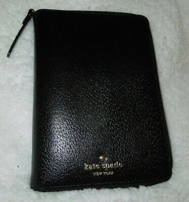 Kate Spade Zip Around Grand Street Black Leather Planner Organizer 10