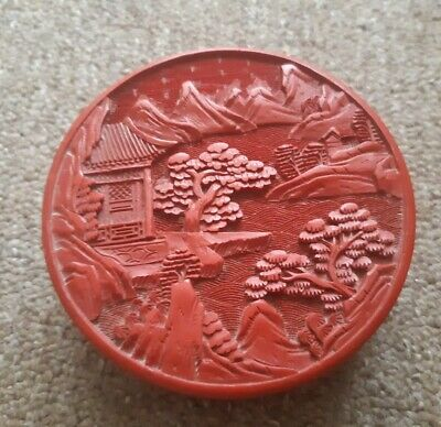 Very Rare Antique Old Red Cinnabar Blue Inside 2