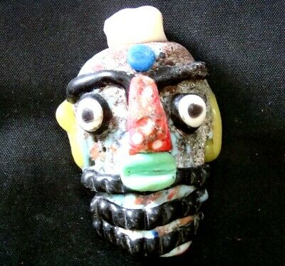 Ancient Phoenician Colorful Face Red Nose Beard Mosaic Glass Bead Pendant 647 12