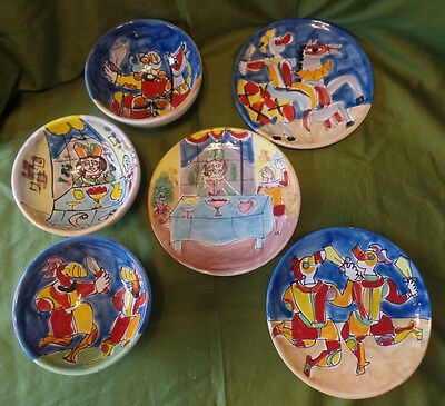 1 of 11 Soup Bowls and Sandwich Plates Set of 3 Knights Princess Medieval Hand Painted & SOUP BOWLS AND Sandwich Plates Set of 3 Knights Princess Medieval ...
