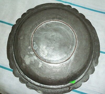 ANTIQUE 19th C OTTOMAN COPPER PLATE DISH ORNATE -HANDCRAFTED-RARE
