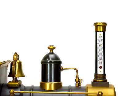 Large French Style 8 Day Brass Automaton Locomotive Industrial Train Clock 6