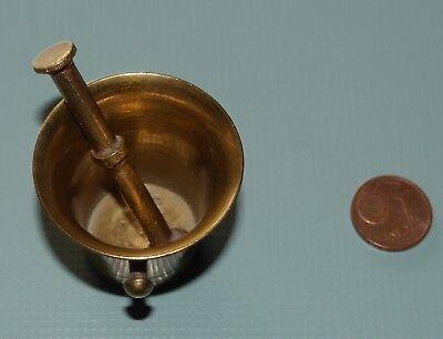 Alter Mörser & Stößel Pistill Miniatur Apotheke Messing Antik Vintage klein 3