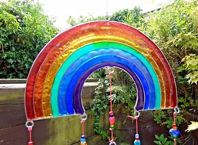 Hand Made Stained Resin Rainbow Angel Suncatcher Sun Catcher Window Wind Chime