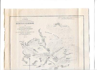 1851 Original Map Superintendent Of Us Coast Guard Survey Boston Harbor 3