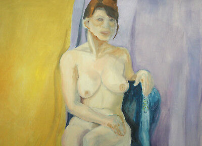 Large Expressionist nude woman portrait vintage oil painting 5
