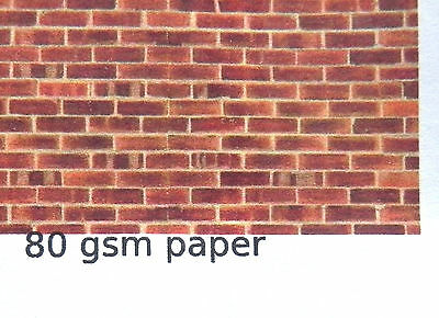 O GAUGE (1:48 scale) red/brown brick - paper - A4 sheet (210 x 297 mm)